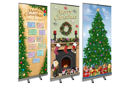 Roll-up for pop-up Christmas banners